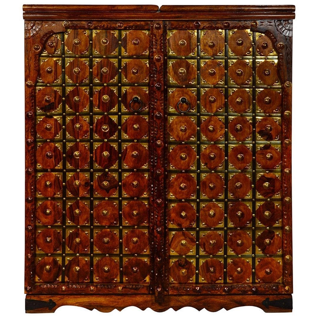 Brass Work Solid Wood Bar Cabinet