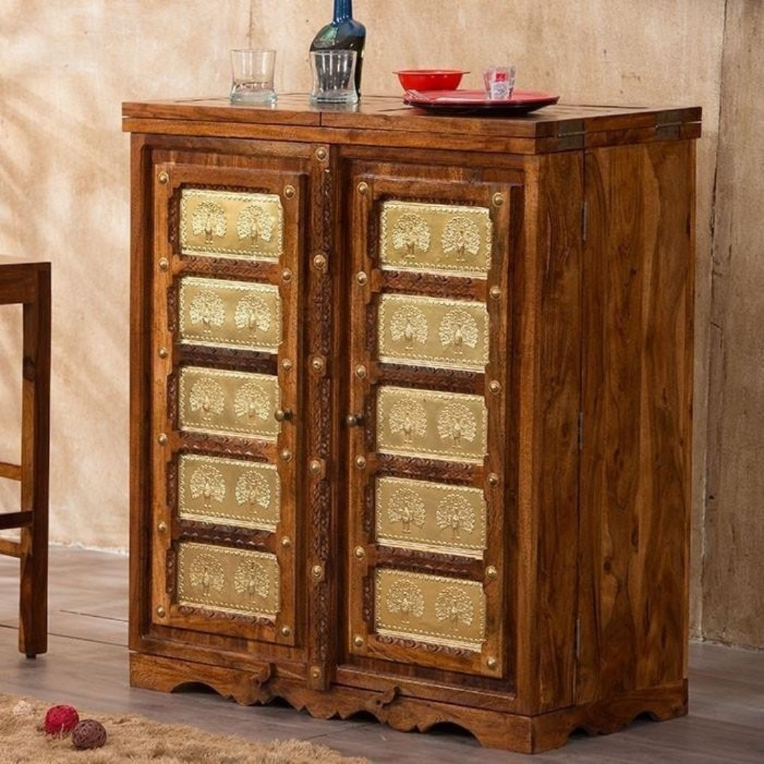 brass work bar cabinet