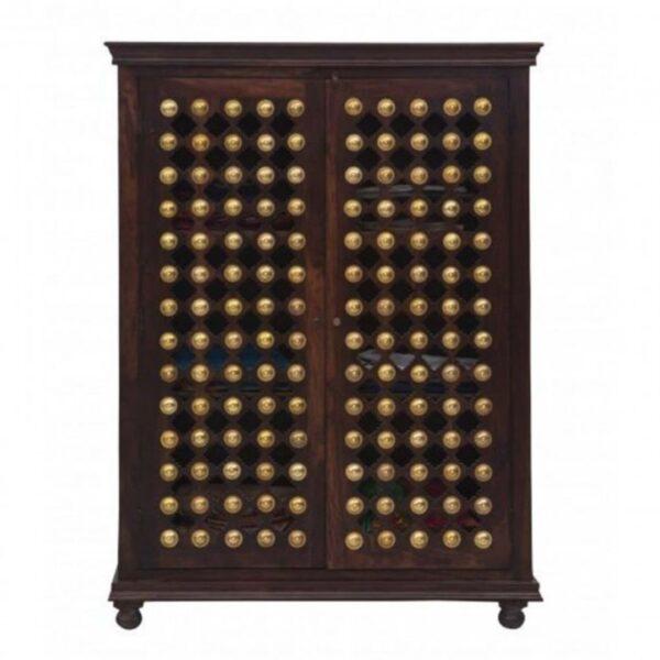 brass work wood cabinet
