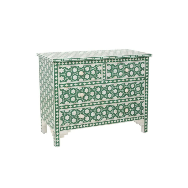 overlay inset bone inlay teal floral chest of 4 drawers dresser