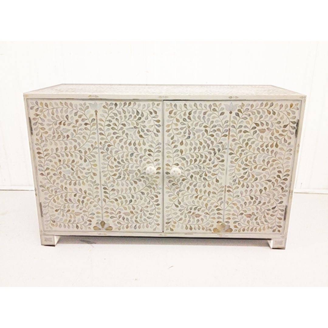 bone inlay cabinet with stunning white floral