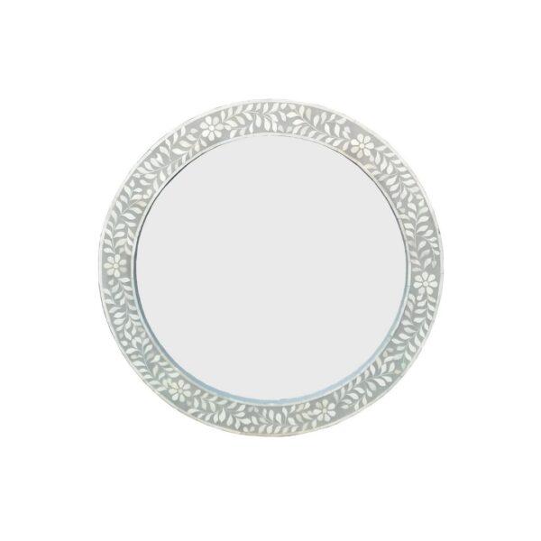 Grey Floral Mirror