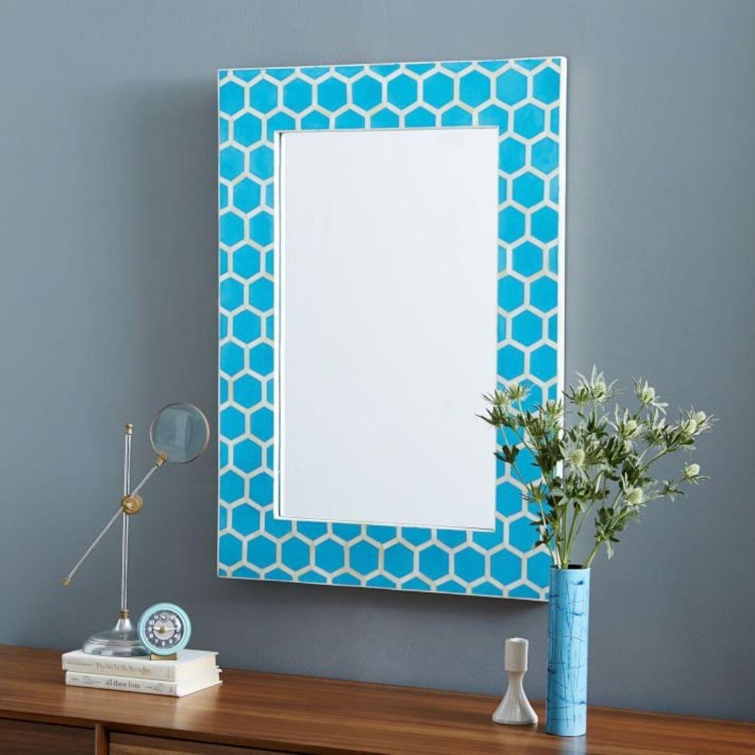 bone inlay honeycomb mirror