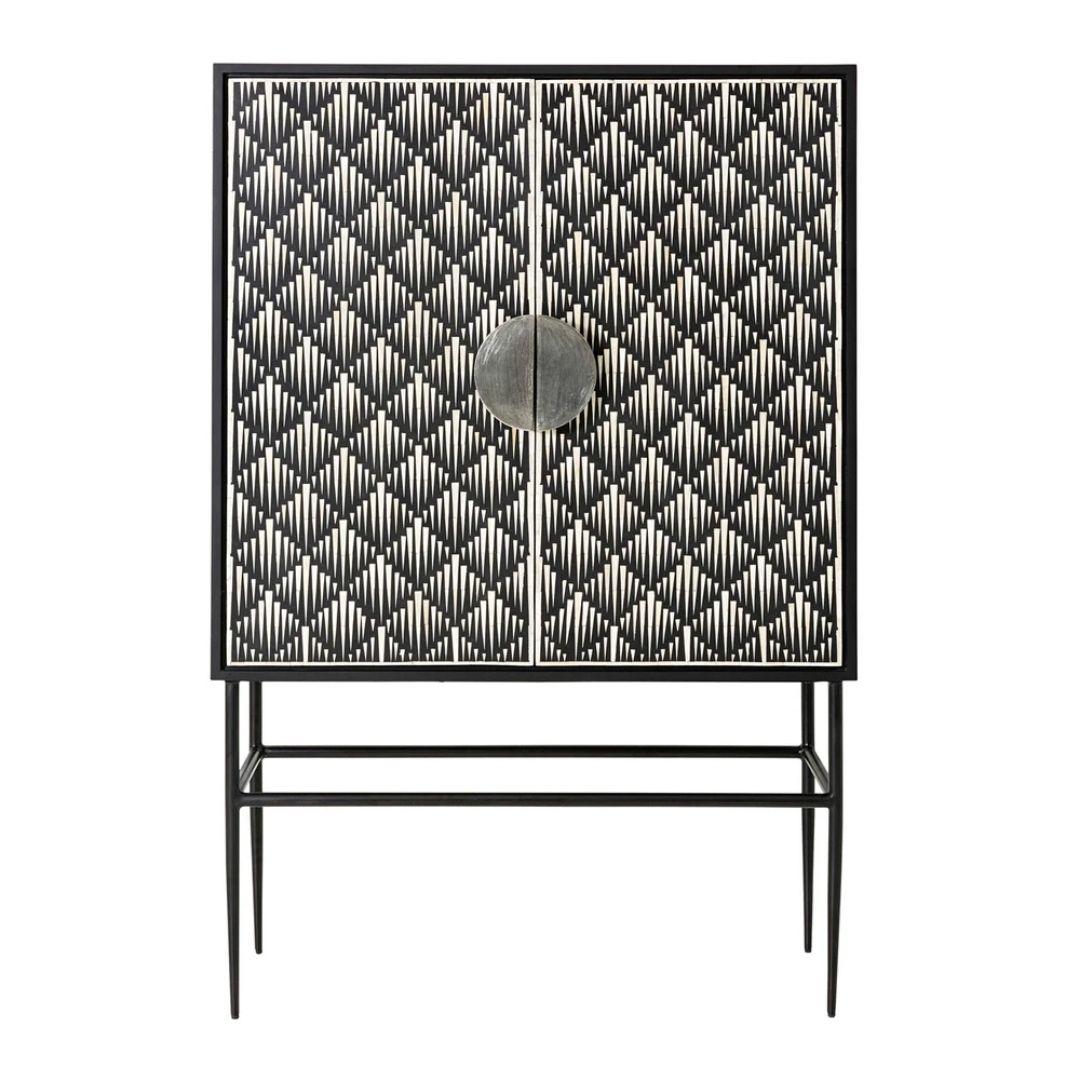 Bone inlay cabinet with black lattice designe