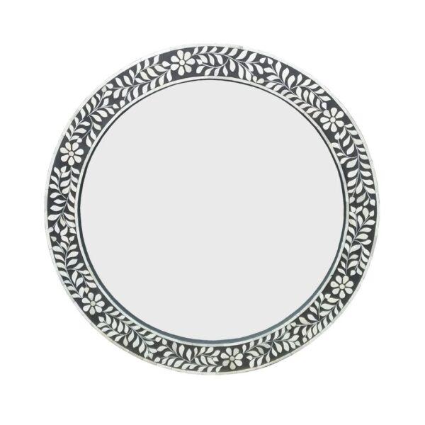 round floral mirror