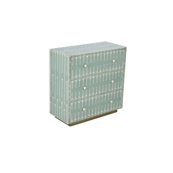 overlay-Inset Bone Inlay Chest of drawers-Geometric Teal
