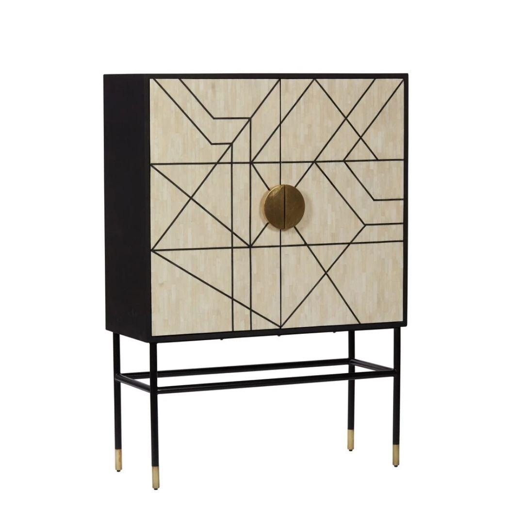 Black geometric bone inlay cabinet